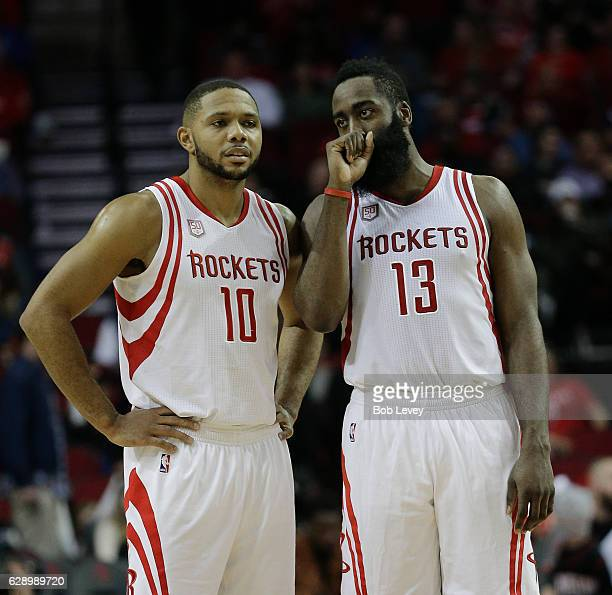 James Harden of the Houston Rockets talks with Eric Gordon at Toyota Center on December 10 2016 in Houston Texas NOTE TO USER User expressly...