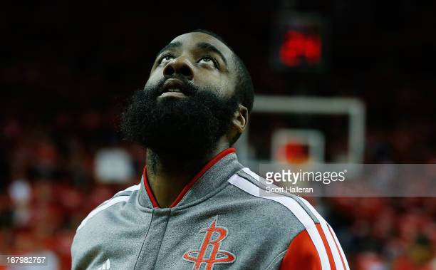 James Harden of the Houston Rockets waits on the court before the game against the Oklahoma City Thunder in Game Six of the Western Conference...