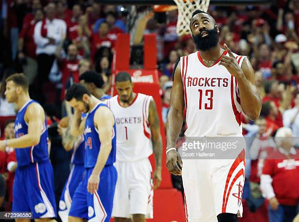 James Harden of the Houston Rockets walks across the court late in the second half against the Los Angeles Clippers during Game Two in the Western...