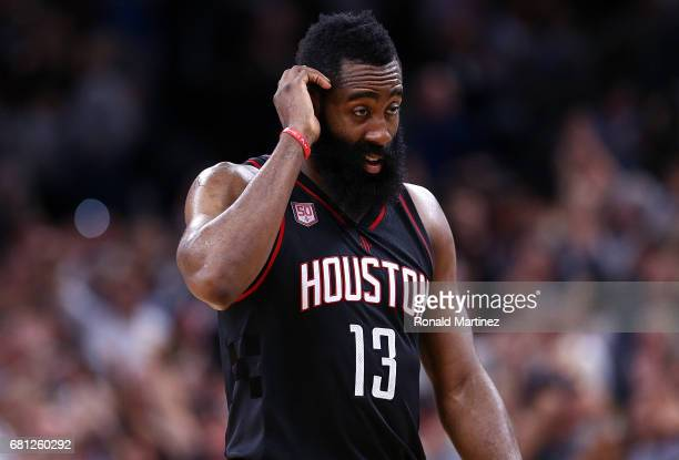 James Harden of the Houston Rockets walks off the court after an overtime loss against the San Antonio Spurs during Game Five of the Western...