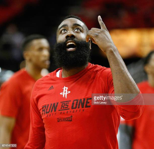 James Harden of the Houston Rockets warms up before Game Five of the Western Conference Quarterfinals game of the 2017 NBA Playoffs at Toyota Center...