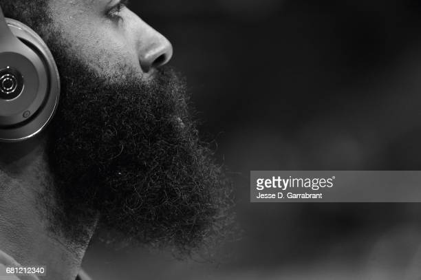 James Harden of the Houston Rockets warms up before the game against the San Antonio Spurs during Game Five of the Western Conference Semifinals of...