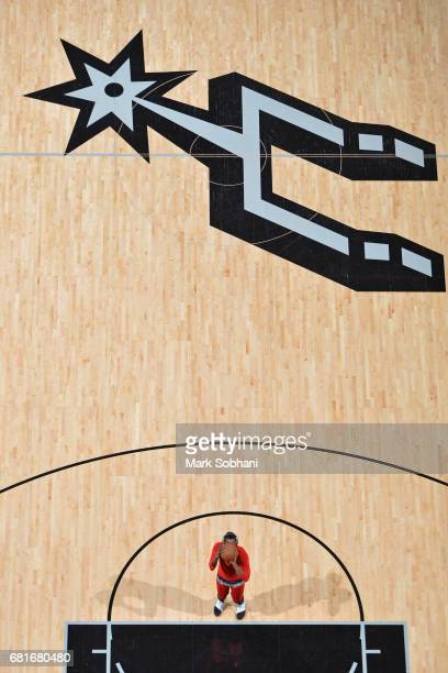 James Harden of the Houston Rockets warms up before the game against the San Antonio Spurs in Game Five of the Western Conference Semifinals on May 9...