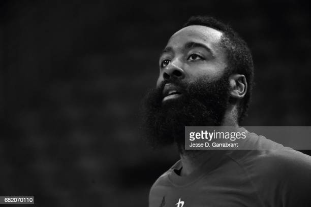 James Harden of the Houston Rockets warms up before the game against the San Antonio Spurs during Game Six of the Western Conference Semifinals of...