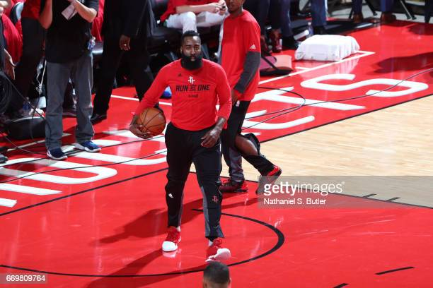 James Harden of the Houston Rockets warms up before the Western Conference Quarterfinals game against the Oklahoma City Thunder during the 2017 NBA...