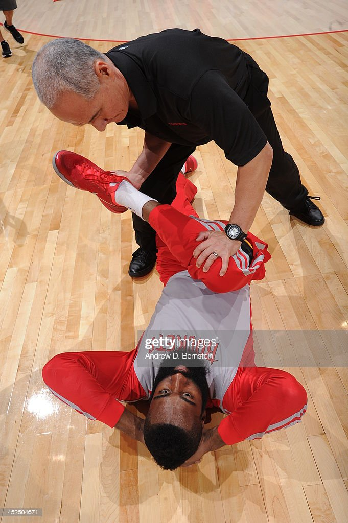 <a gi-track='captionPersonalityLinkClicked' href=/galleries/search?phrase=James+Harden&family=editorial&specificpeople=4215938 ng-click='$event.stopPropagation()'>James Harden</a> #13 of the Houston Rockets Warms-up prior to the game against the Los Angeles Clippers at Staples Center on November 4, 2013 in Los Angeles, California.
