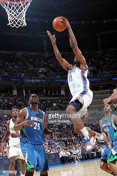 James Harden of the Oklahoma City Thunder goes to the basket against Al Jefferson of the Minnesota Timberwolves on April 4 2010 at the Ford Center in...