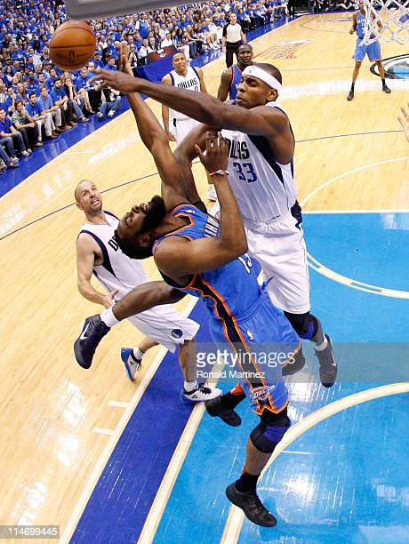 James Harden of the Oklahoma City Thunder goes up for a shot against Brendan Haywood of the Dallas Mavericks in the first half in Game Five of the...