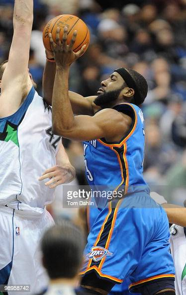James Harden of the Oklahoma City Thunder goes up for a shot against Kevin Love fof the Minnesota Timberwolves during the game on February 21 2010 at...