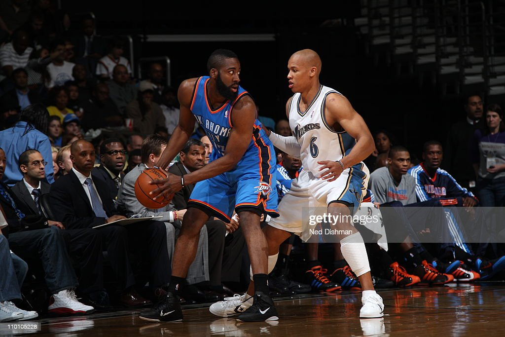 <a gi-track='captionPersonalityLinkClicked' href=/galleries/search?phrase=James+Harden&family=editorial&specificpeople=4215938 ng-click='$event.stopPropagation()'>James Harden</a> #13 of the Oklahoma City Thunder in action against <a gi-track='captionPersonalityLinkClicked' href=/galleries/search?phrase=Maurice+Evans&family=editorial&specificpeople=201677 ng-click='$event.stopPropagation()'>Maurice Evans</a> #6 of the Washington Wizards on March 14, 2011 at the Verizon Center in Washington, DC.