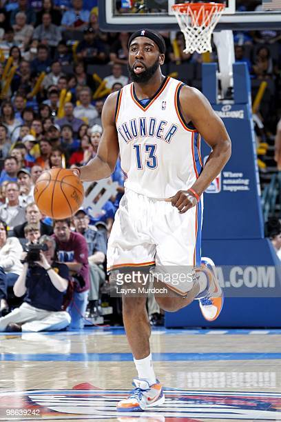 James Harden of the Oklahoma City Thunder moves the ball up court during the game against the Memphis Grizzlies at Ford Center on April 14 2010 in...