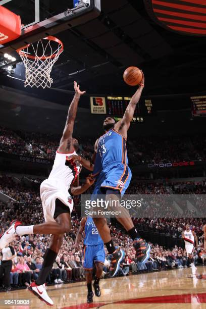 James Harden of the Oklahoma City Thunder takes a shot against Martell Webster of the Portland Trail Blazers during a game on April 12 2010 at the...