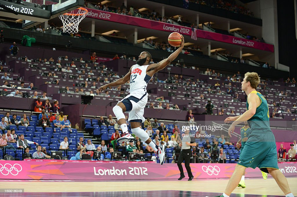 <a gi-track='captionPersonalityLinkClicked' href=/galleries/search?phrase=James+Harden&family=editorial&specificpeople=4215938 ng-click='$event.stopPropagation()'>James Harden</a> #12 of the US Men's Senior National Team dunks against Australia during their Basketball Game on Day 12 of the London 2012 Olympic Games at the North Greenwich Arena on August 8, 2012 in London, England.NOTE