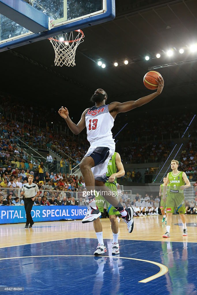 <a gi-track='captionPersonalityLinkClicked' href=/galleries/search?phrase=James+Harden&family=editorial&specificpeople=4215938 ng-click='$event.stopPropagation()'>James Harden</a> #13 of the USA Basketball Men's National Team drives to the basket against the Slovenia Basketball Men's National Team on August 26, 2014 at Gran Canaria Arena in Las Palmas, Gran Canaria, Spain.