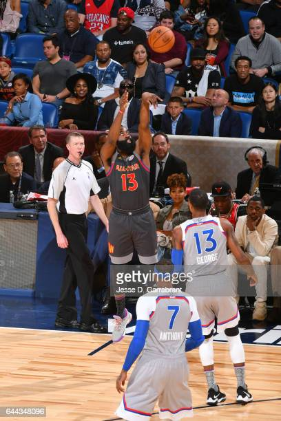 James Harden of the Western Conference AllStar Team shoots the ball against the Eastern Conference AllStar Team during the NBA AllStar Game as part...