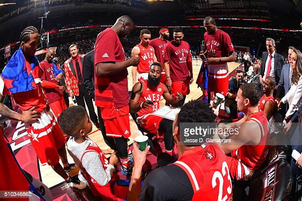James Harden of the Western Conference AllStars draws up some plays during the NBA AllStar Game as part of the 2016 NBA All Star Weekend on February...