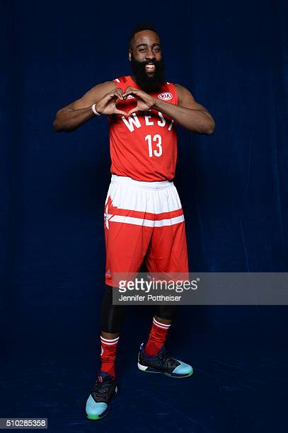 James Harden of the Western Conference AllStars team poses for a portrait before the NBA AllStar Game on February 14 2016 at the Air Canada Centre in...