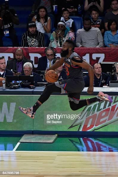 James Harden of the Western Conference drives the ball against the Eastern Conference during the NBA AllStar Game as a part of 2017 AllStar Weekend...