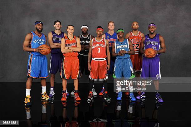 James Harden Omri Casspi Stephen Curry DeJuan Blair Brandon Jennings Jonas Jerebko Jonny Flynn Taj Gibson and Tyreke Evans of the Rookie Team pose...