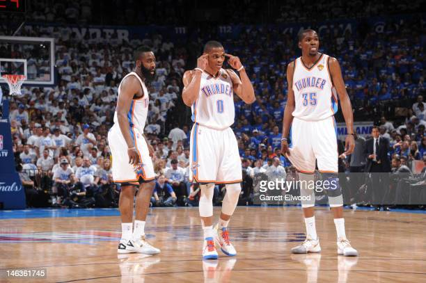 James Harden Russell Westbrook and Kevin Durant of the Oklahoma City Thunder gets the play against the Miami Heat during Game Two of the 2012 NBA...