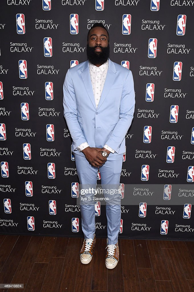<a gi-track='captionPersonalityLinkClicked' href=/galleries/search?phrase=James+Harden&family=editorial&specificpeople=4215938 ng-click='$event.stopPropagation()'>James Harden</a> visits the Samsung Galaxy Studio during NBA All Star 2015 on February 13, 2015 in New York City.