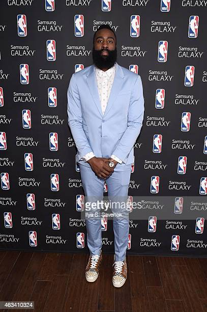 James Harden visits the Samsung Galaxy Studio during NBA All Star 2015 on February 13 2015 in New York City
