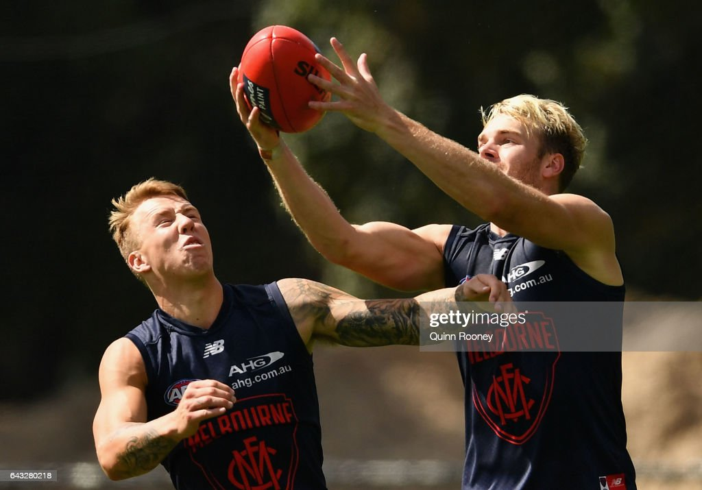James Harmes and Jack Watts of the Demons compete for a mark during a Melbourne Demons AFL training session at Gosch's Paddock on February 21, 2017 in Melbourne, Australia.