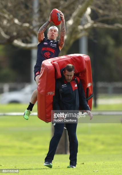 James Harmes of the Demons takes a mark during a Melbourne Demons AFL training session at Gosch's Paddock on August 18 2017 in Melbourne Australia