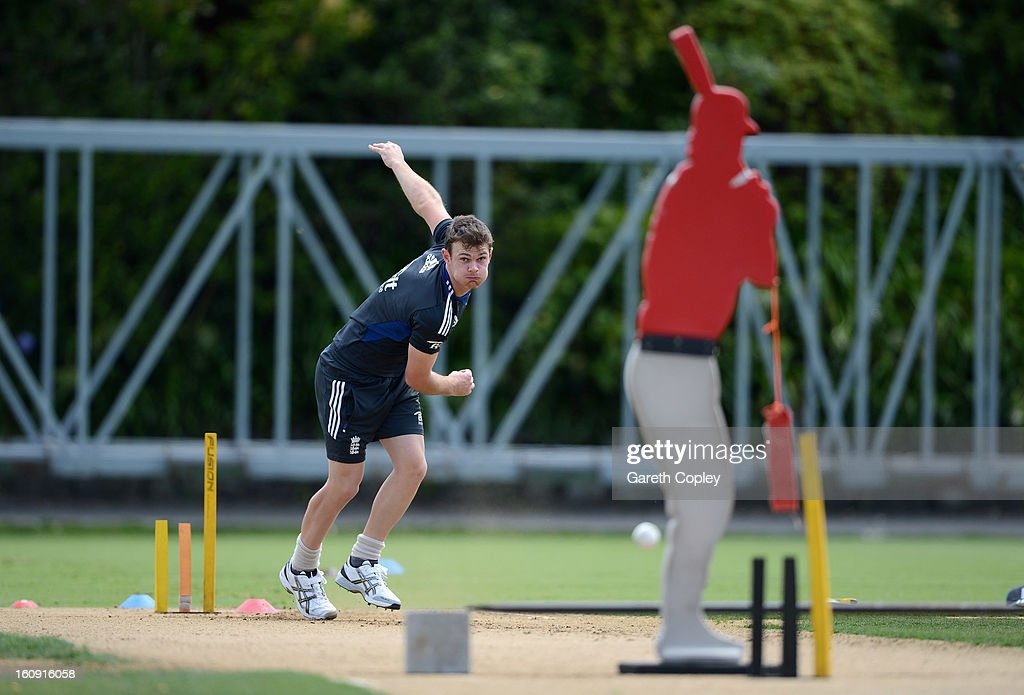 James Harris of England bowls during an England nets session at Eden Park on February 8, 2013 in Auckland, New Zealand.