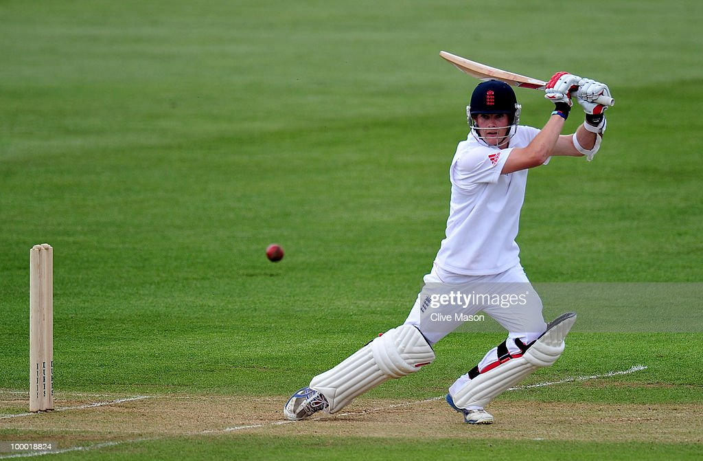 James Harris of England Lions in action batting during day two of the match between England Lions and Bangladesh at The County Ground on May 20, 2010 in Derby, England.