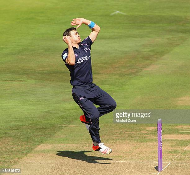 James Harris of Middlesex bowling during the Royal London One Day Cup match between Middlesex and Glamorgan at Lords Cricket Ground on August 17 2015...