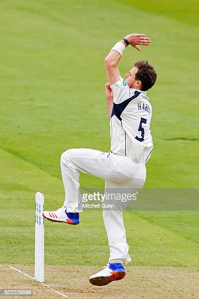 James Harris of Middlesex bowling during the Specsavers County Championship Division One match between Middlesex and Warwickshire at Lords Cricket...