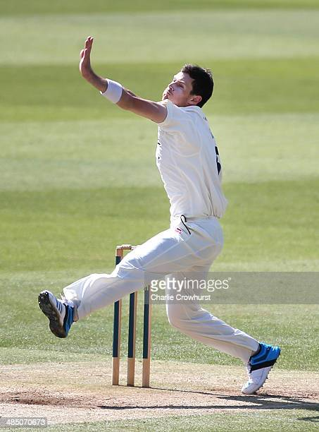 James Harris of Middlesex bowls during day four of the LV County Championship match between Middlesex and Nottinghamshire at Lord's Cricket Ground on...