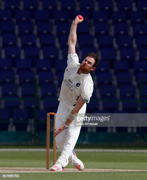 James Harris of Middlesex bowls during day one of the Champion County match between Marylebone Cricket Club and Middlesex at Sheikh Zayed stadium on...