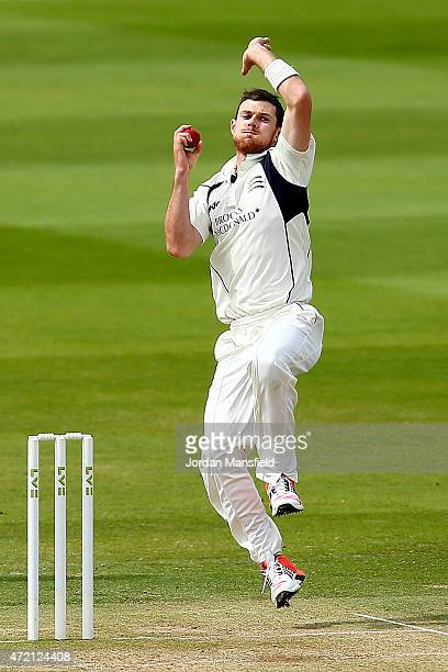 James Harris of Middlesex bowls during day three of the LV County Championship match between Middlesex and Durham at Lord's Cricket Ground on May 4...