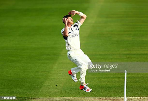 James Harris of Middlesex bowls during day two of the LV County Championship Division One match between Middlesex and Nottinghamshire at Lord's...