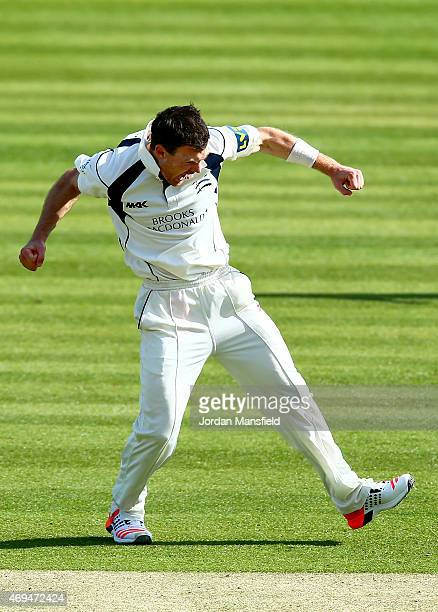 James Harris of Middlesex celebrates after bowling out lbw Samit Patel of Nottinghamshire during day one of the LV County Championship Division One...
