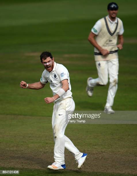 James Harris of Middlesex celebrates the wicket of Marcus Trescothick of Somerset during Day Two of the Specsavers County Championship Division One...