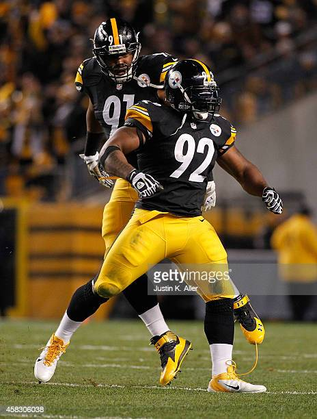James Harrison of the Pittsburgh Steelers celebrates his sack during the first quarter against the Baltimore Ravens at Heinz Field on November 2 2014...