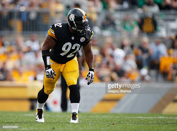 James Harrison of the Pittsburgh Steelers during the game against the Tampa Bay Buccaneers at Heinz Field on September 28 2014 in Pittsburgh...