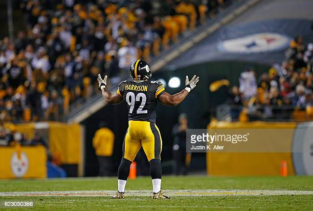 James Harrison of the Pittsburgh Steelers reacts after a defensive stop in the second half during the game against the Dallas Cowboys at Heinz Field...