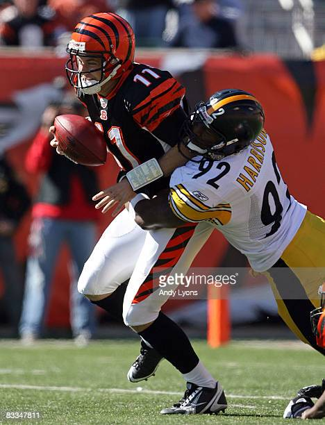 James Harrison of the Pittsburgh Steelers sacks Ryan Fitzpatrick of the Cincinnati Bengals during the NFL game at Paul Brown Stadium on October 19...