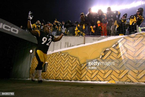 James Harrison of the Pittsburgh Steelers takes the field during player introductions against the Baltimore Ravens during the AFC Championship game...