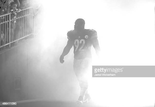 James Harrison of the Pittsburgh Steelers takes the field during introductions prior to the preseason game against the Carolina Panthers at Heinz...