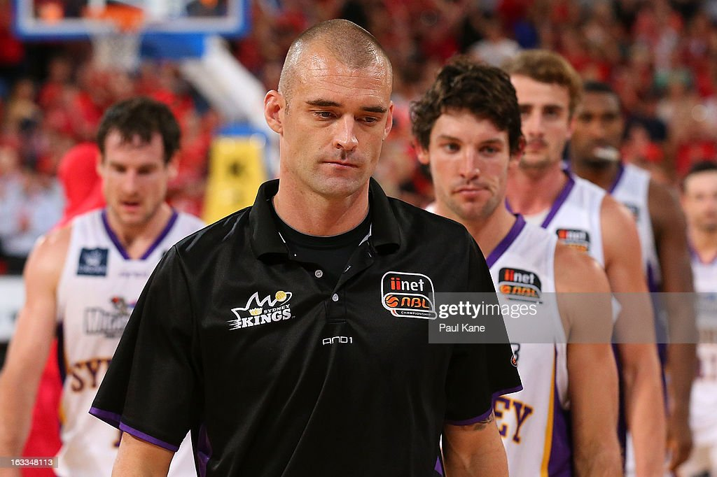 James Harvey of the Kings leads the players from the court after being defeated during the round 22 NBL match between the Perth Wildcats and the Sydney Kings at Perth Arena on March 8, 2013 in Perth, Australia.