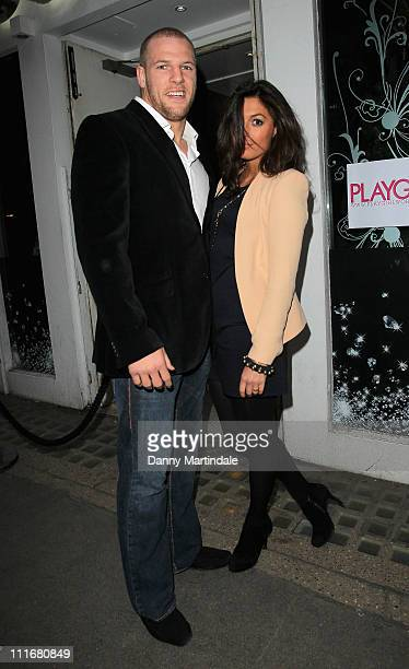 James Haskell and Felicia Field Hall attend the Playgirl Magazine launch party at blanca Bar glasshouse st on April 5 2011 in London England