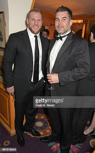 James Haskell and Nick Easter attend the 6 Nations Review dinner supporting the Matt Hampson Foundation and Wooden Spoon children's charity at...