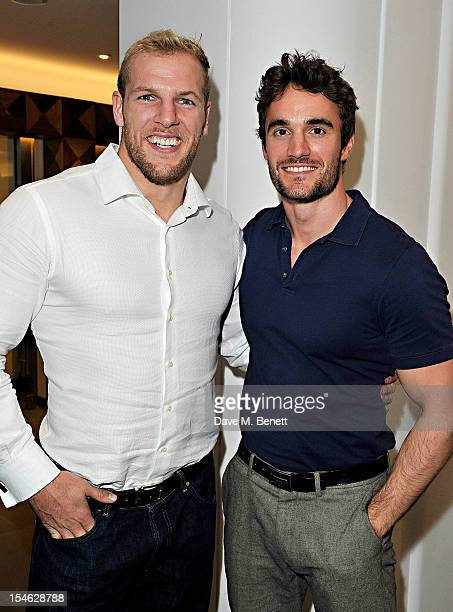 James Haskell and Thom Evans attend as famed American fitness club 'Equinox' launch their first UK location on High Street Kensington on October 23...