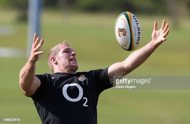 James Haskell catches the ball during the England training session held at the Nelson Mandela University on June 21 2012 in Port Elizabeth South...