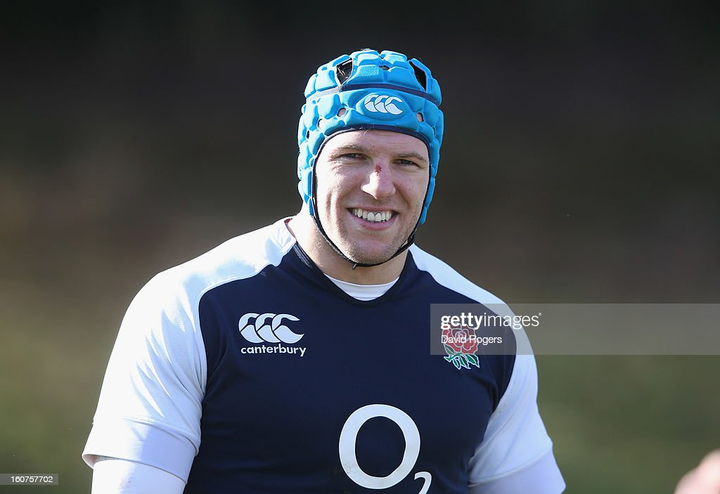James Haskell looks on during the England training session at Pennyhill Park on February 5, 2013 in Bagshot, England.